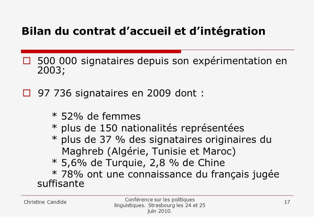 Christine Candide Conférence sur les politiques linguistiques. Strasbourg les 24 et 25 juin 2010. 17 Bilan du contrat daccueil et dintégration 500 000