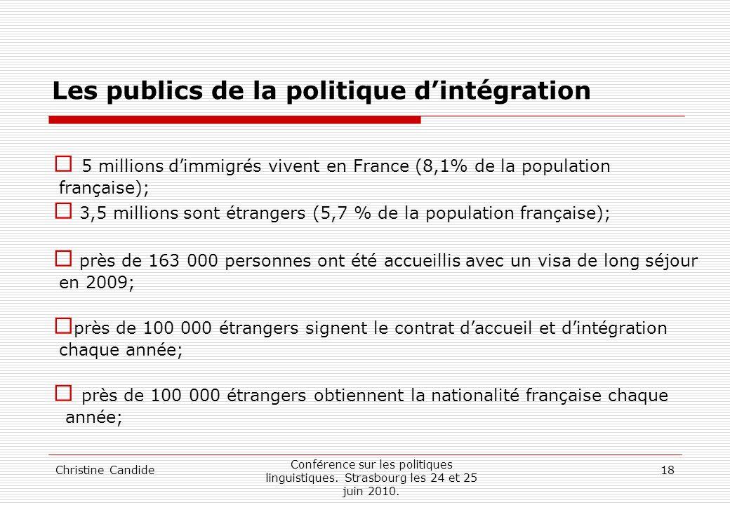 Christine Candide Conférence sur les politiques linguistiques. Strasbourg les 24 et 25 juin 2010. 18 Les publics de la politique dintégration 5 millio