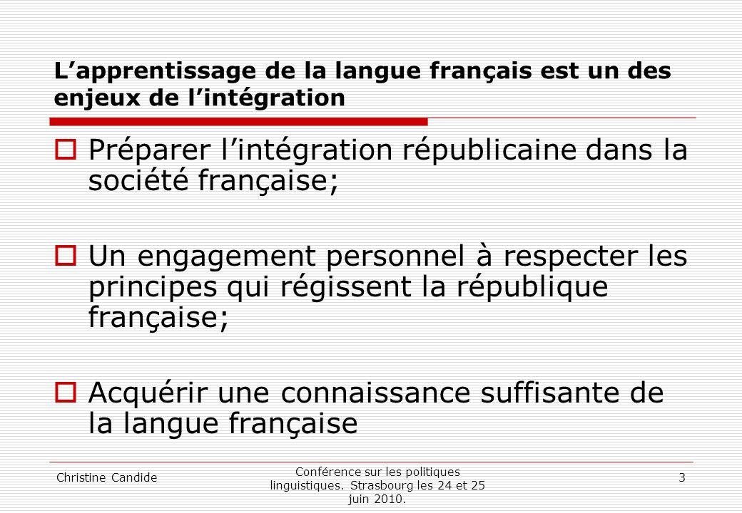 Christine Candide Conférence sur les politiques linguistiques. Strasbourg les 24 et 25 juin 2010. 3 Lapprentissage de la langue français est un des en