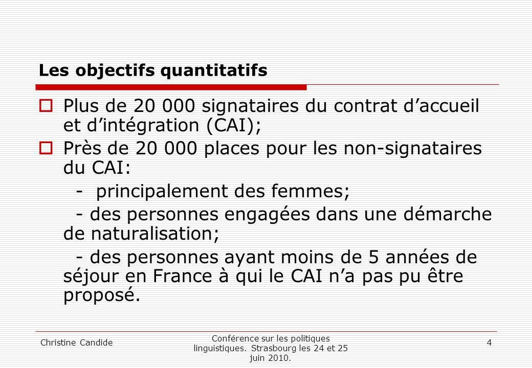 Christine Candide Conférence sur les politiques linguistiques. Strasbourg les 24 et 25 juin 2010. 4 Les objectifs quantitatifs Plus de 20 000 signatai