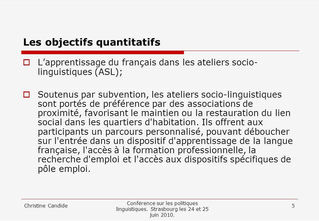 Christine Candide Conférence sur les politiques linguistiques. Strasbourg les 24 et 25 juin 2010. 5 Les objectifs quantitatifs Lapprentissage du franç