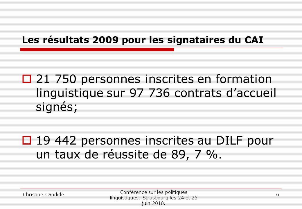 Christine Candide Conférence sur les politiques linguistiques. Strasbourg les 24 et 25 juin 2010. 6 Les résultats 2009 pour les signataires du CAI 21