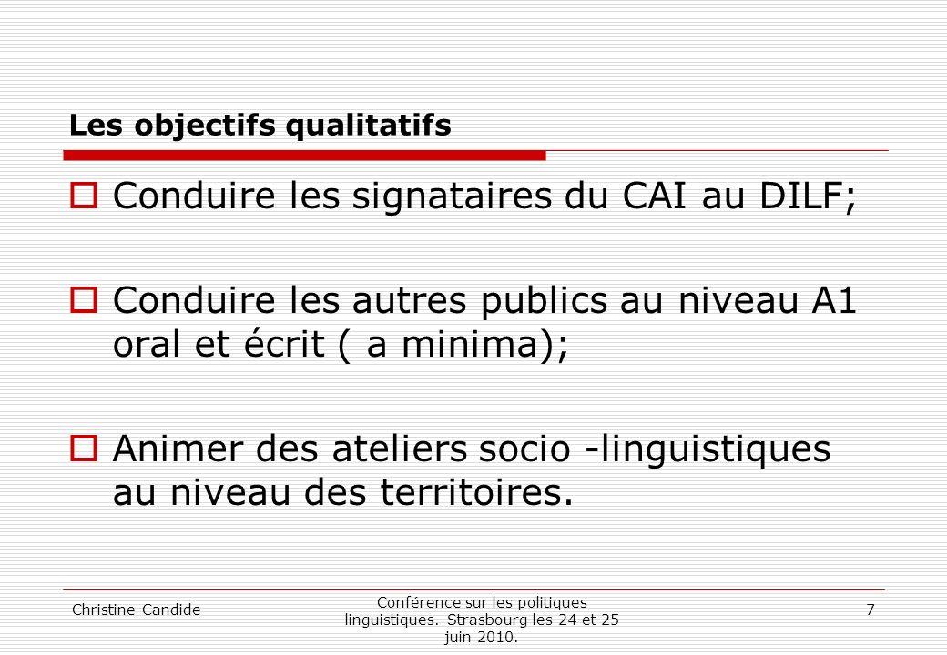 Christine Candide Conférence sur les politiques linguistiques. Strasbourg les 24 et 25 juin 2010. 7 Les objectifs qualitatifs Conduire les signataires