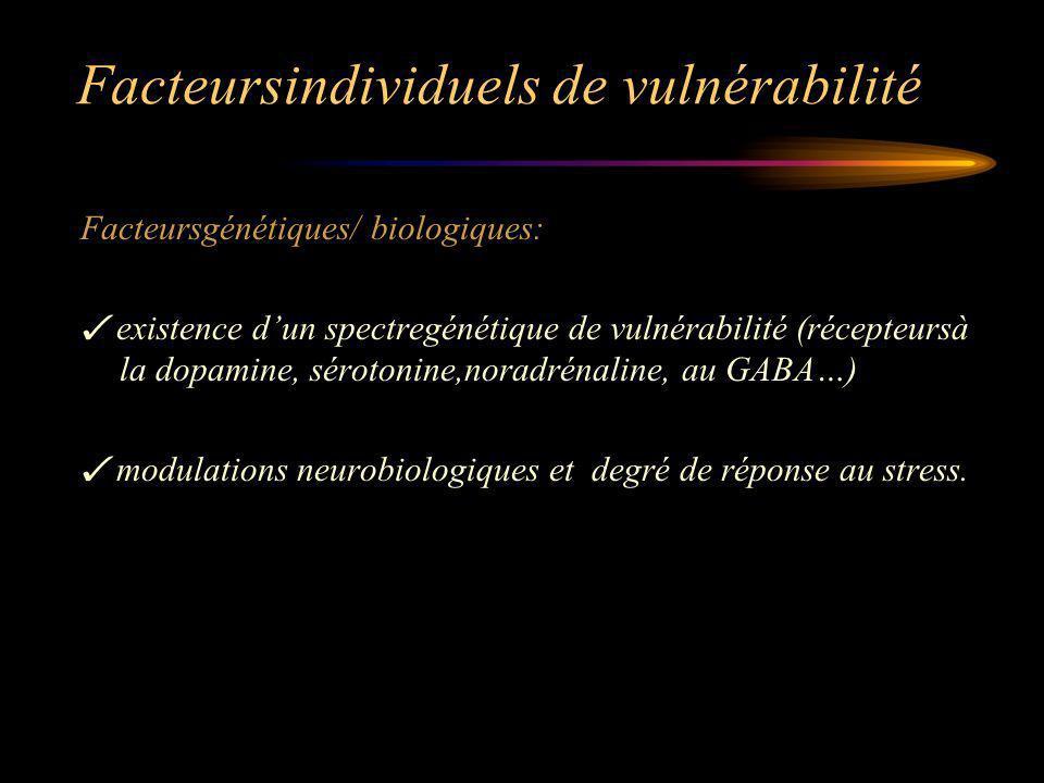 Facteursindividuels de vulnérabilité Facteursgénétiques/ biologiques: existence dun spectregénétique de vulnérabilité (récepteursà la dopamine, sérotonine,noradrénaline, au GABA…) modulations neurobiologiques et degré de réponse au stress.
