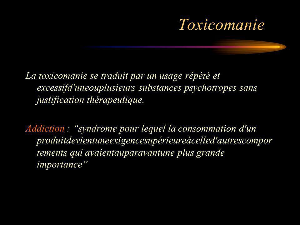 Toxicomanie La toxicomanie se traduit par un usage répété et excessifd uneouplusieurs substances psychotropes sans justification thérapeutique.