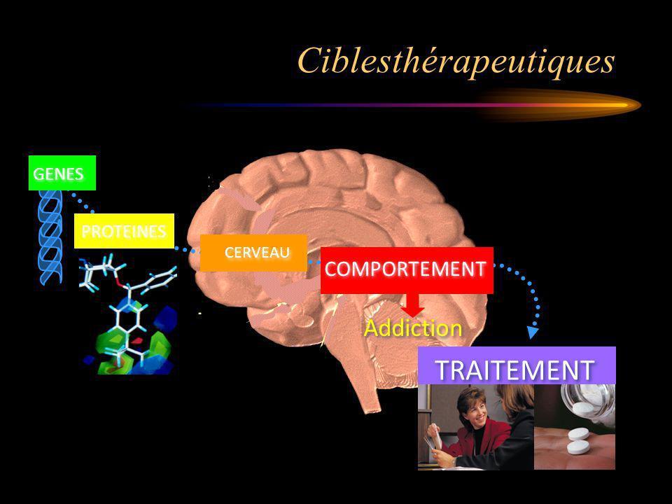 Ciblesthérapeutiques Addiction PROTEINES CERVEAU COMPORTEMENT TRAITEMENT GENES