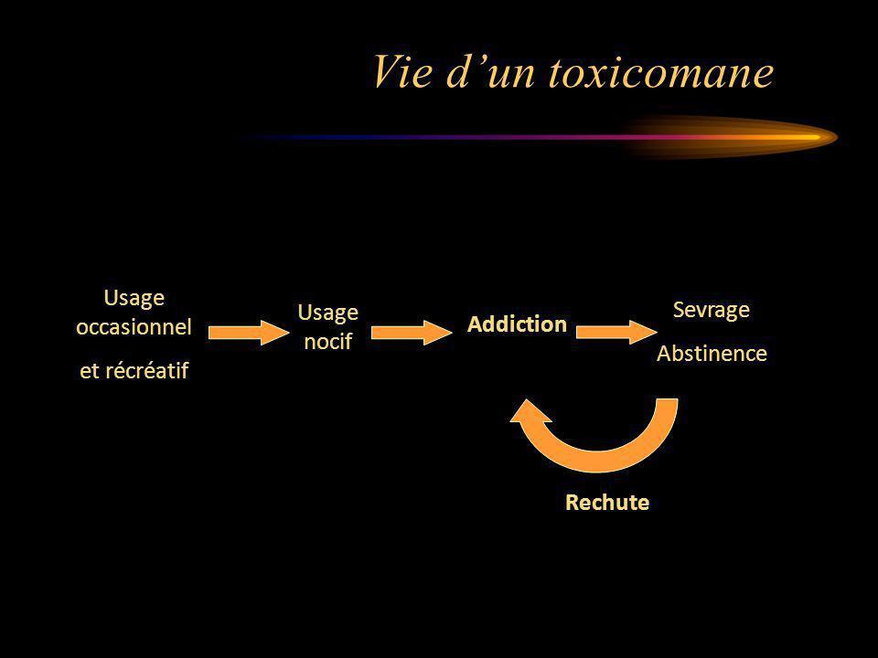 Vie dun toxicomane Addiction Usage nocif Usage occasionnel et récréatif Sevrage Abstinence Rechute