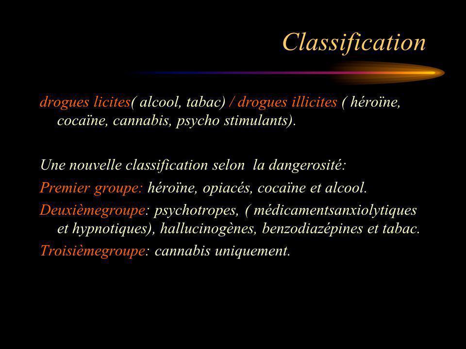 Classification drogues licites( alcool, tabac) / drogues illicites ( héroïne, cocaïne, cannabis, psycho stimulants).