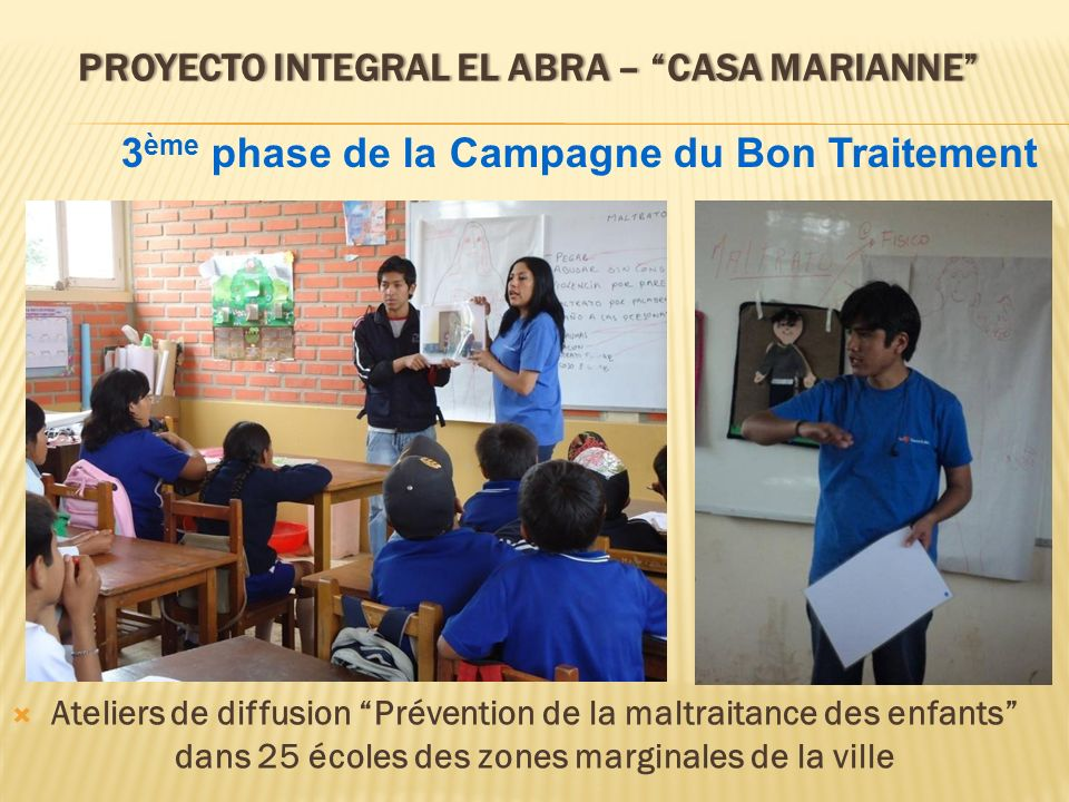 PROYECTO INTEGRAL EL ABRA – CASA MARIANNEPROYECTO INTEGRAL EL ABRA – CASA MARIANNE Ateliers de diffusion Prévention de la maltraitance des enfants dan