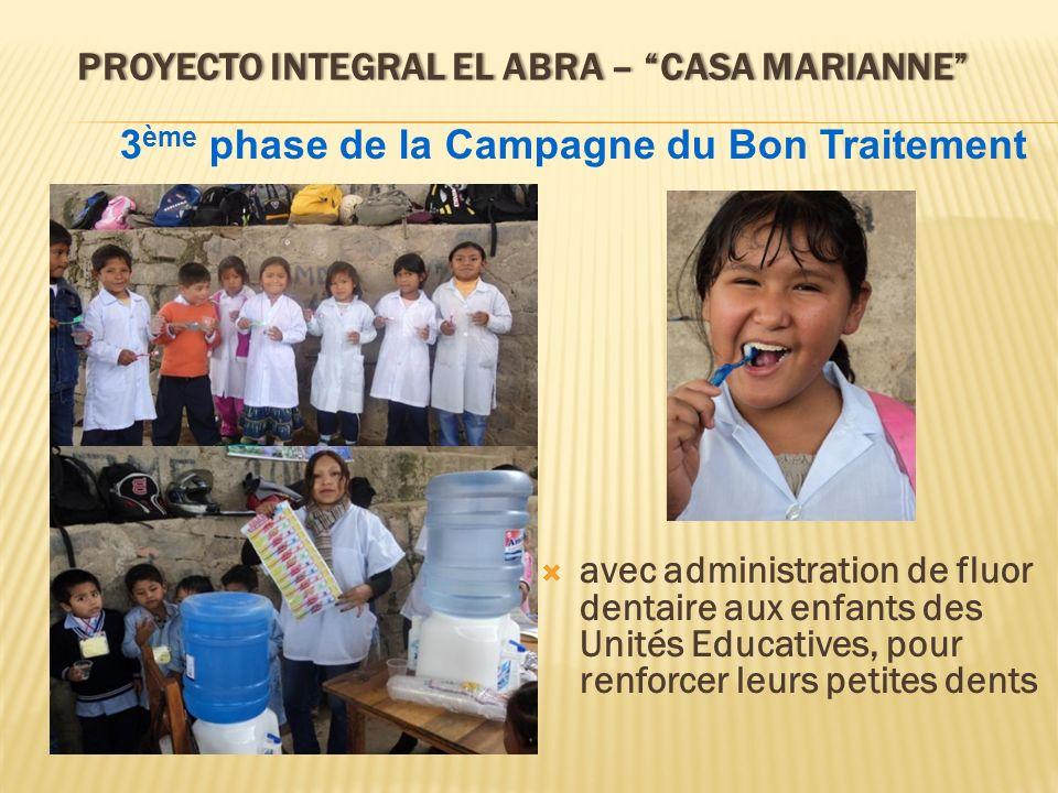 PROYECTO INTEGRAL EL ABRA – CASA MARIANNEPROYECTO INTEGRAL EL ABRA – CASA MARIANNE avec administration de fluor dentaire aux enfants des Unités Educat