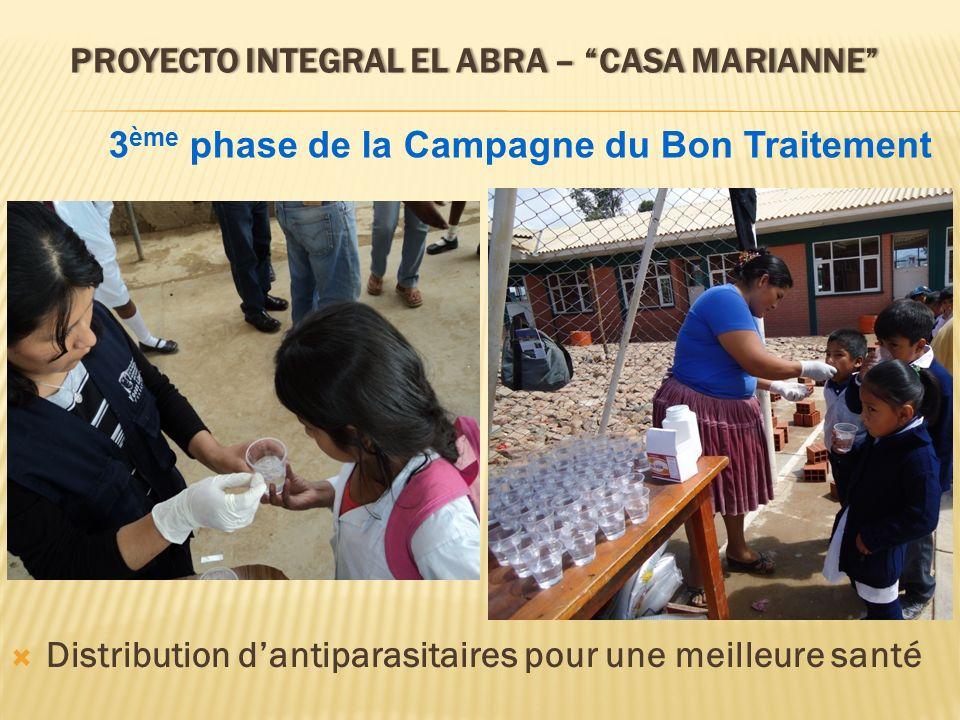 PROYECTO INTEGRAL EL ABRA – CASA MARIANNEPROYECTO INTEGRAL EL ABRA – CASA MARIANNE Distribution dantiparasitaires pour une meilleure santé 3 ème phase