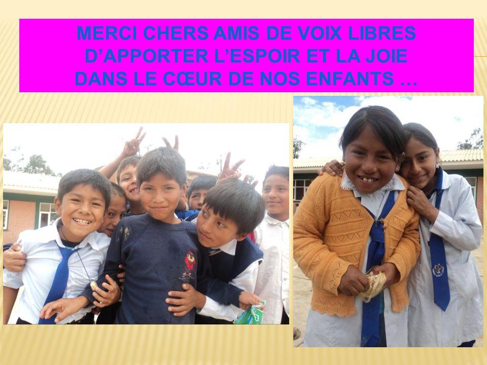 MERCI CHERS AMIS DE VOIX LIBRES DAPPORTER LESPOIR ET LA JOIE DANS LE CŒUR DE NOS ENFANTS …