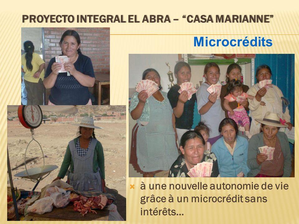 PROYECTO INTEGRAL EL ABRA – CASA MARIANNEPROYECTO INTEGRAL EL ABRA – CASA MARIANNE à une nouvelle autonomie de vie grâce à un microcrédit sans intérêt
