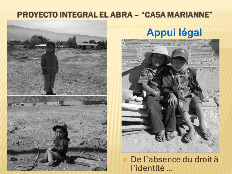 PROYECTO INTEGRAL EL ABRA – CASA MARIANNEPROYECTO INTEGRAL EL ABRA – CASA MARIANNE De labsence du droit à lidentité … Appui légal
