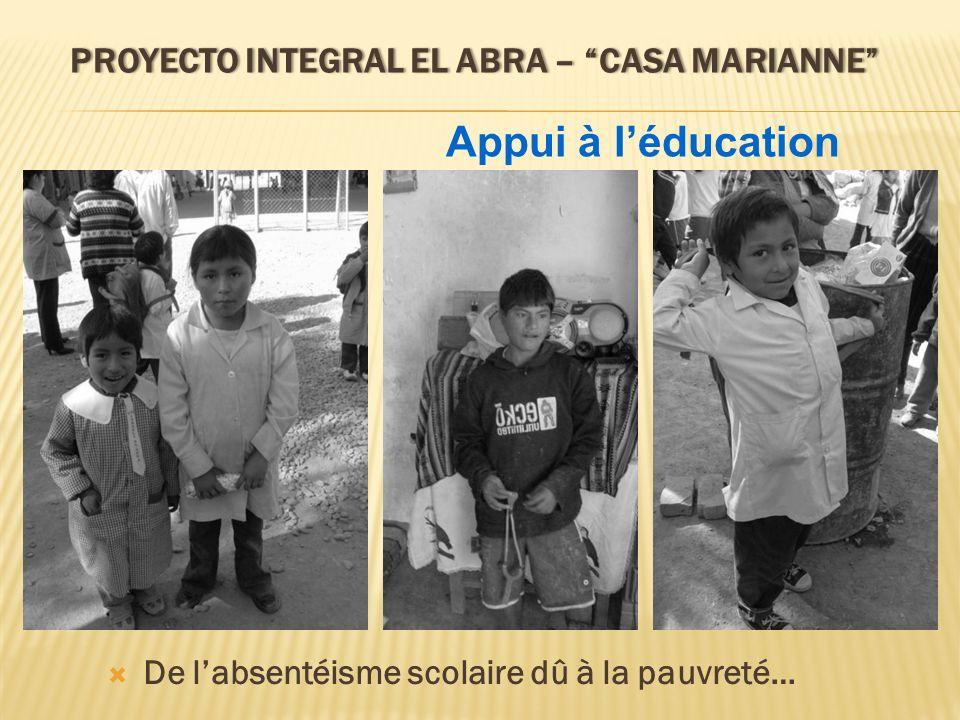 PROYECTO INTEGRAL EL ABRA – CASA MARIANNEPROYECTO INTEGRAL EL ABRA – CASA MARIANNE De labsentéisme scolaire dû à la pauvreté… Appui à léducation