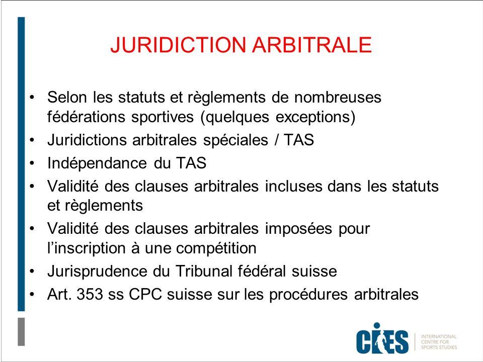 JURIDICTION ARBITRALE Selon les statuts et règlements de nombreuses fédérations sportives (quelques exceptions) Juridictions arbitrales spéciales / TAS Indépendance du TAS Validité des clauses arbitrales incluses dans les statuts et règlements Validité des clauses arbitrales imposées pour linscription à une compétition Jurisprudence du Tribunal fédéral suisse Art.