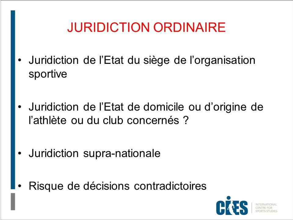 JURIDICTION ORDINAIRE Juridiction de lEtat du siège de lorganisation sportive Juridiction de lEtat de domicile ou dorigine de lathlète ou du club concernés .