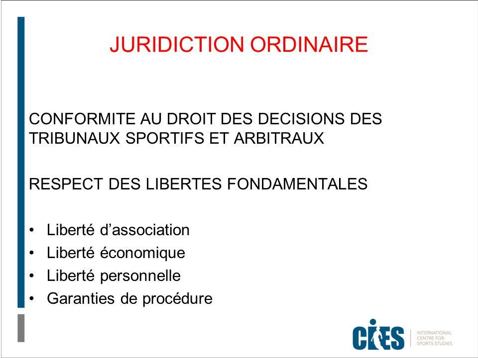 JURIDICTION ORDINAIRE CONFORMITE AU DROIT DES DECISIONS DES TRIBUNAUX SPORTIFS ET ARBITRAUX RESPECT DES LIBERTES FONDAMENTALES Liberté dassociation Liberté économique Liberté personnelle Garanties de procédure