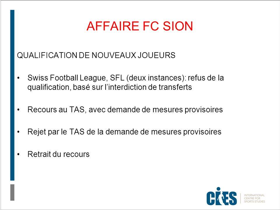 AFFAIRE FC SION QUALIFICATION DE NOUVEAUX JOUEURS Swiss Football League, SFL (deux instances): refus de la qualification, basé sur linterdiction de transferts Recours au TAS, avec demande de mesures provisoires Rejet par le TAS de la demande de mesures provisoires Retrait du recours