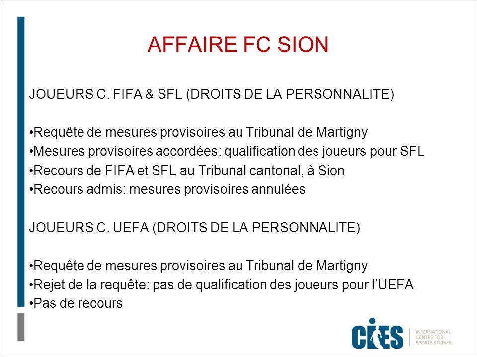AFFAIRE FC SION JOUEURS C. FIFA & SFL (DROITS DE LA PERSONNALITE) Requête de mesures provisoires au Tribunal de Martigny Mesures provisoires accordées