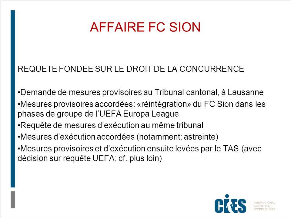 AFFAIRE FC SION REQUETE FONDEE SUR LE DROIT DE LA CONCURRENCE Demande de mesures provisoires au Tribunal cantonal, à Lausanne Mesures provisoires accordées: «réintégration» du FC Sion dans les phases de groupe de lUEFA Europa League Requête de mesures dexécution au même tribunal Mesures dexécution accordées (notamment: astreinte) Mesures provisoires et dexécution ensuite levées par le TAS (avec décision sur requête UEFA; cf.