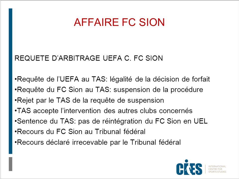 AFFAIRE FC SION REQUETE DARBITRAGE UEFA C. FC SION Requête de lUEFA au TAS: légalité de la décision de forfait Requête du FC Sion au TAS: suspension d