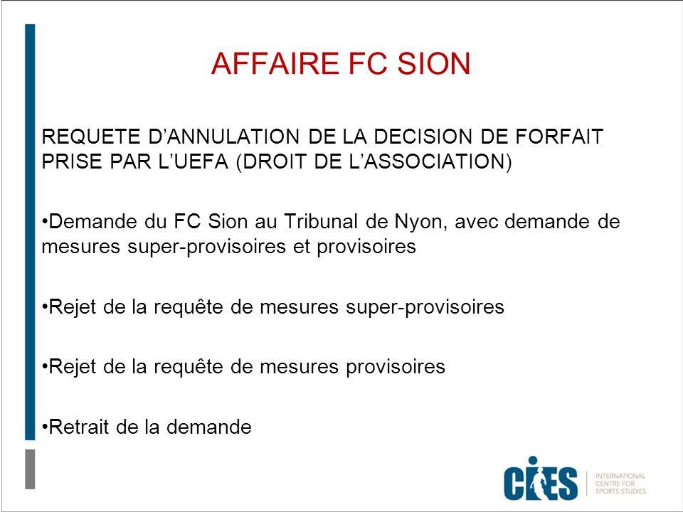 AFFAIRE FC SION REQUETE DANNULATION DE LA DECISION DE FORFAIT PRISE PAR LUEFA (DROIT DE LASSOCIATION) Demande du FC Sion au Tribunal de Nyon, avec dem