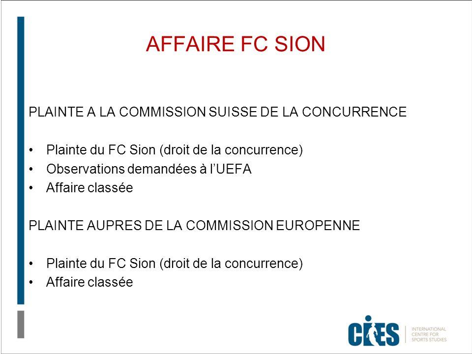 AFFAIRE FC SION PLAINTE A LA COMMISSION SUISSE DE LA CONCURRENCE Plainte du FC Sion (droit de la concurrence) Observations demandées à lUEFA Affaire classée PLAINTE AUPRES DE LA COMMISSION EUROPENNE Plainte du FC Sion (droit de la concurrence) Affaire classée