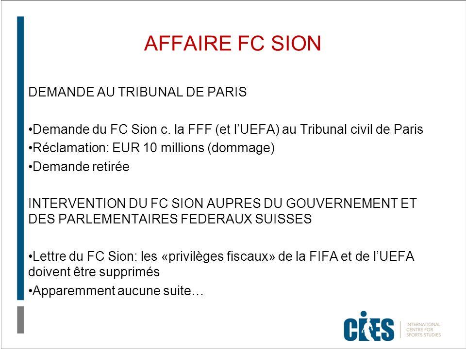 AFFAIRE FC SION DEMANDE AU TRIBUNAL DE PARIS Demande du FC Sion c. la FFF (et lUEFA) au Tribunal civil de Paris Réclamation: EUR 10 millions (dommage)