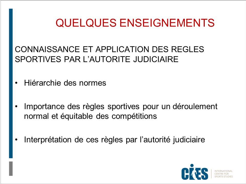 QUELQUES ENSEIGNEMENTS CONNAISSANCE ET APPLICATION DES REGLES SPORTIVES PAR LAUTORITE JUDICIAIRE Hiérarchie des normes Importance des règles sportives