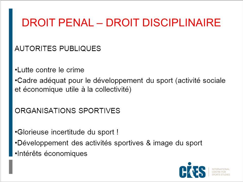 DROIT PENAL – DROIT DISCIPLINAIRE AUTORITES PUBLIQUES Lutte contre le crime Cadre adéquat pour le développement du sport (activité sociale et économique utile à la collectivité) ORGANISATIONS SPORTIVES Glorieuse incertitude du sport .