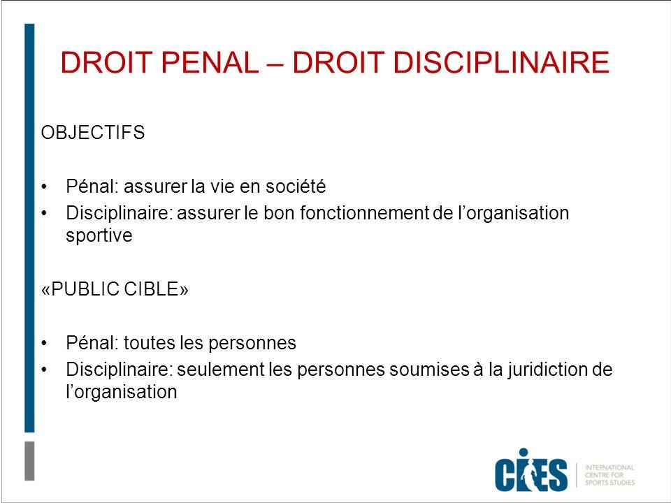 DROIT PENAL – DROIT DISCIPLINAIRE OBJECTIFS Pénal: assurer la vie en société Disciplinaire: assurer le bon fonctionnement de lorganisation sportive «P