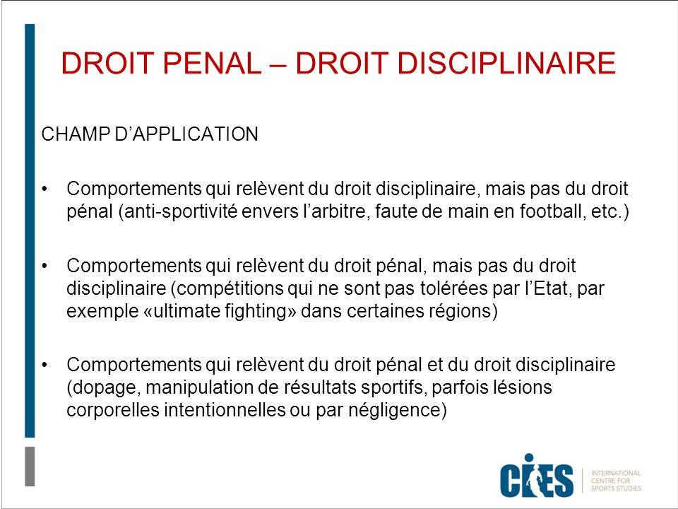 DROIT PENAL – DROIT DISCIPLINAIRE CHAMP DAPPLICATION Comportements qui relèvent du droit disciplinaire, mais pas du droit pénal (anti-sportivité enver