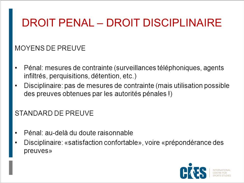 DROIT PENAL – DROIT DISCIPLINAIRE MOYENS DE PREUVE Pénal: mesures de contrainte (surveillances téléphoniques, agents infiltrés, perquisitions, détenti