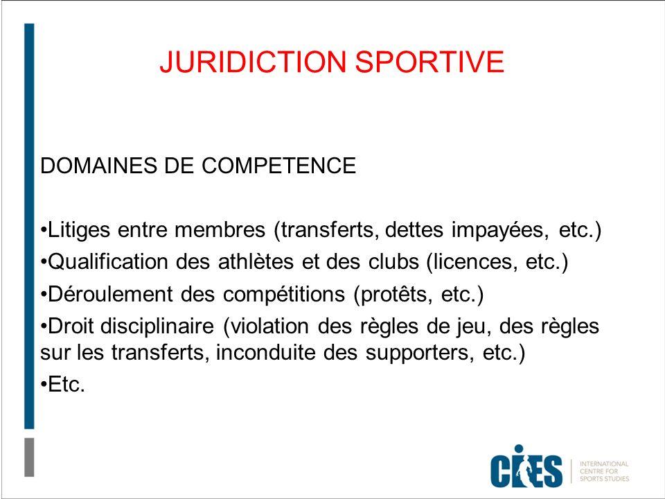 JURIDICTION SPORTIVE DOMAINES DE COMPETENCE Litiges entre membres (transferts, dettes impayées, etc.) Qualification des athlètes et des clubs (licence
