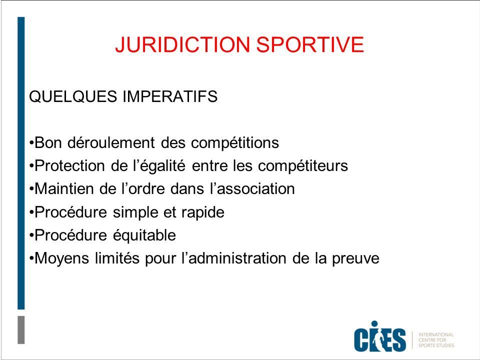 JURIDICTION SPORTIVE QUELQUES IMPERATIFS Bon déroulement des compétitions Protection de légalité entre les compétiteurs Maintien de lordre dans lassoc