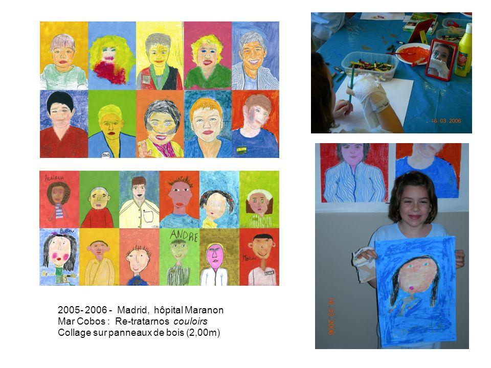 2005- 2006 - Madrid, hôpital Maranon Mar Cobos : Re-tratarnos couloirs Collage sur panneaux de bois (2,00m)