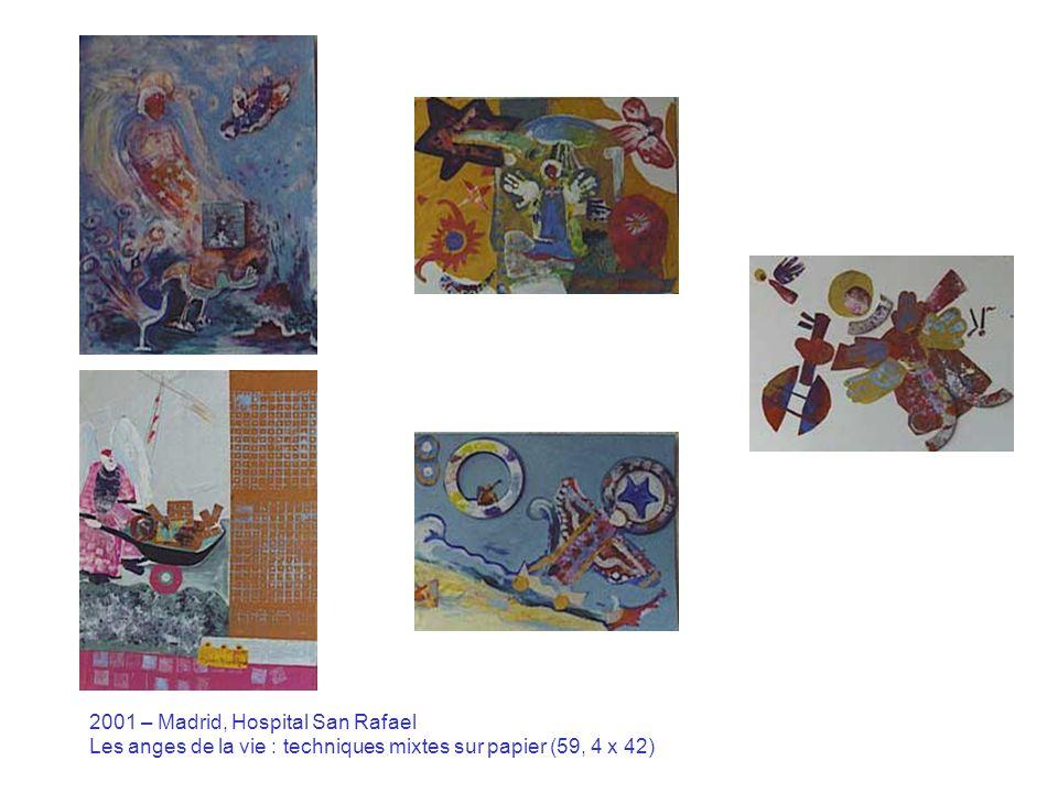 2001 – Paris, Hôpital Armand Trousseau Harald Fernagu : en haut, détails de La cabane à sucre (sculpture-installation, 3 x 2 x 2 m) et en bas, maison-jouet et boîte aux lettres de la maison installée à lintérieur de lhôpital