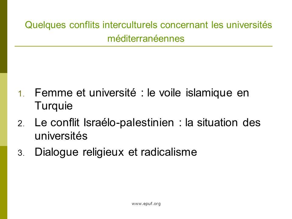 www.epuf.org Quelques conflits interculturels concernant les universités méditerranéennes 1.