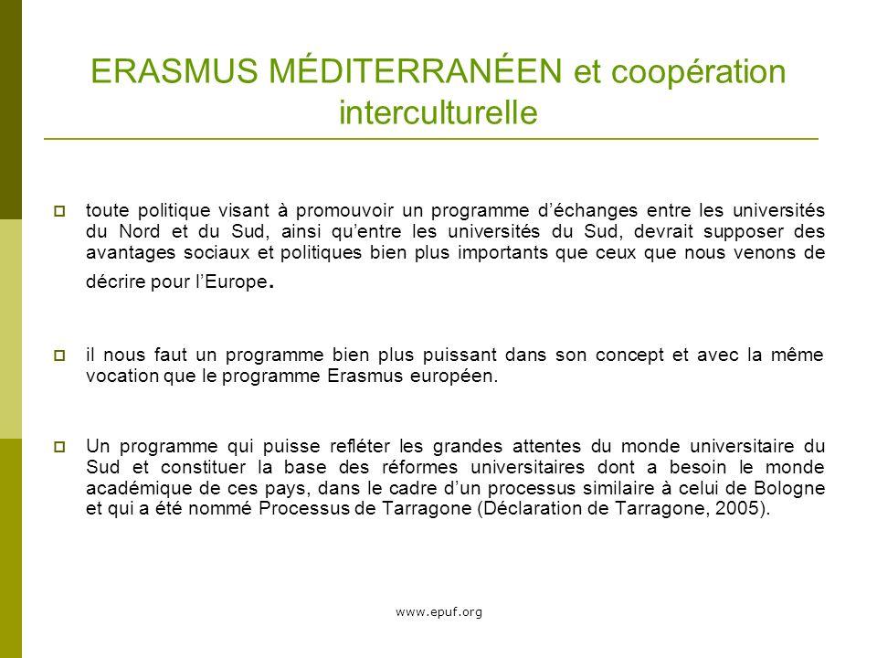 www.epuf.org ERASMUS MÉDITERRANÉEN et coopération interculturelle toute politique visant à promouvoir un programme déchanges entre les universités du Nord et du Sud, ainsi quentre les universités du Sud, devrait supposer des avantages sociaux et politiques bien plus importants que ceux que nous venons de décrire pour lEurope.