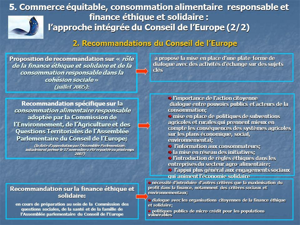 . Commerce équitable, consommation alimentaire responsable et finance éthique et solidaire : 5. Commerce équitable, consommation alimentaire responsab