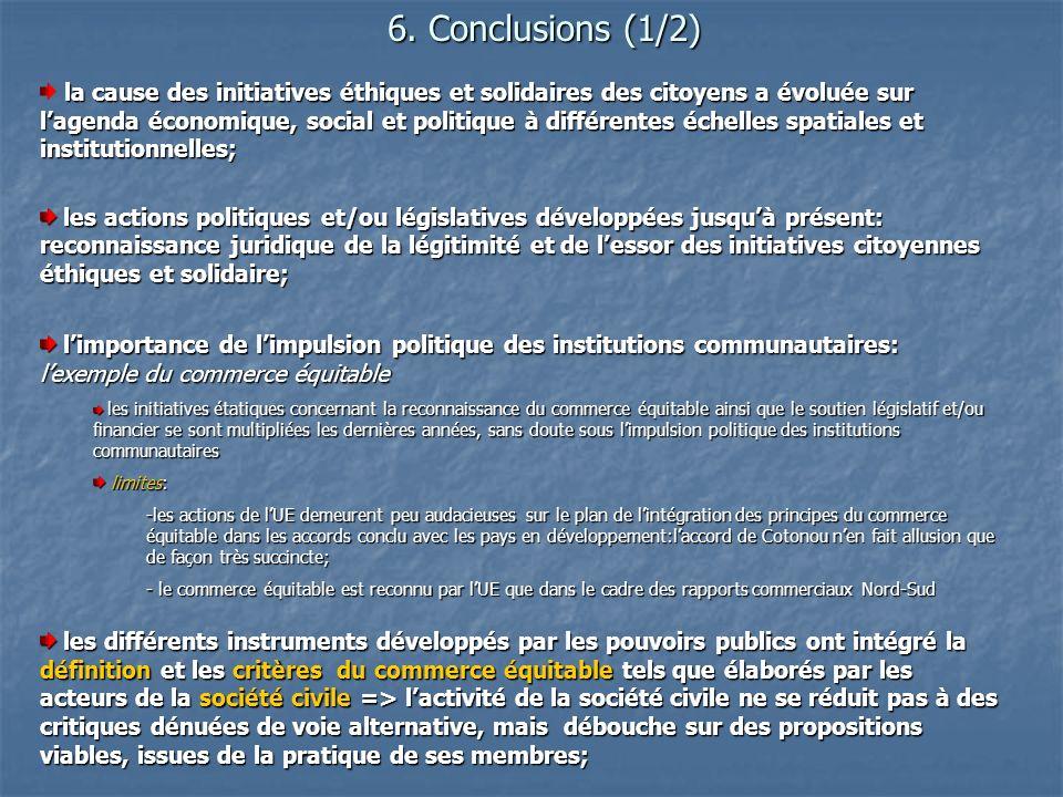 6. Conclusions (1/2) la cause des initiatives éthiques et solidaires des citoyens a évoluée sur lagenda économique, social et politique à différentes