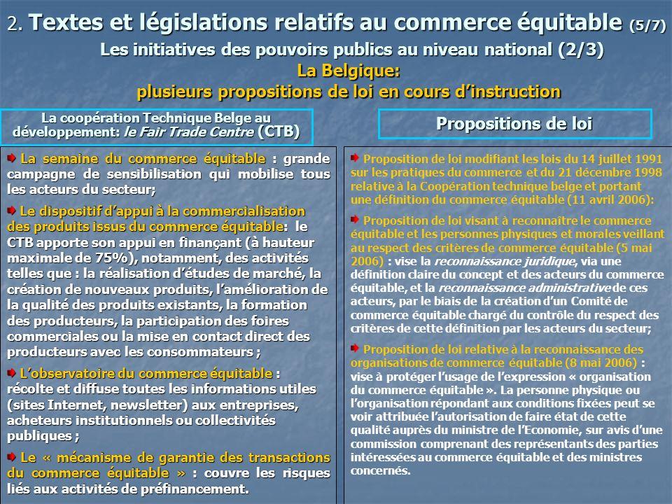 2. Textes et législations relatifs au commerce équitable (5/7) Les initiatives des pouvoirs publics au niveau national (2/3) La coopération Technique