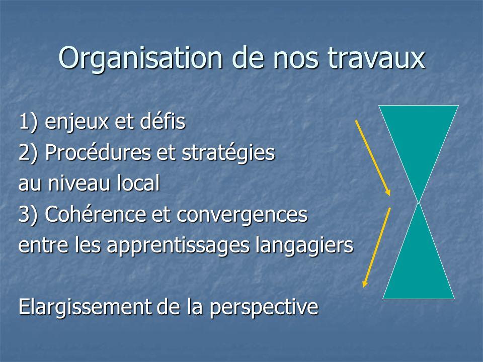 Organisation de nos travaux 1) enjeux et défis 2) Procédures et stratégies au niveau local 3) Cohérence et convergences entre les apprentissages langa