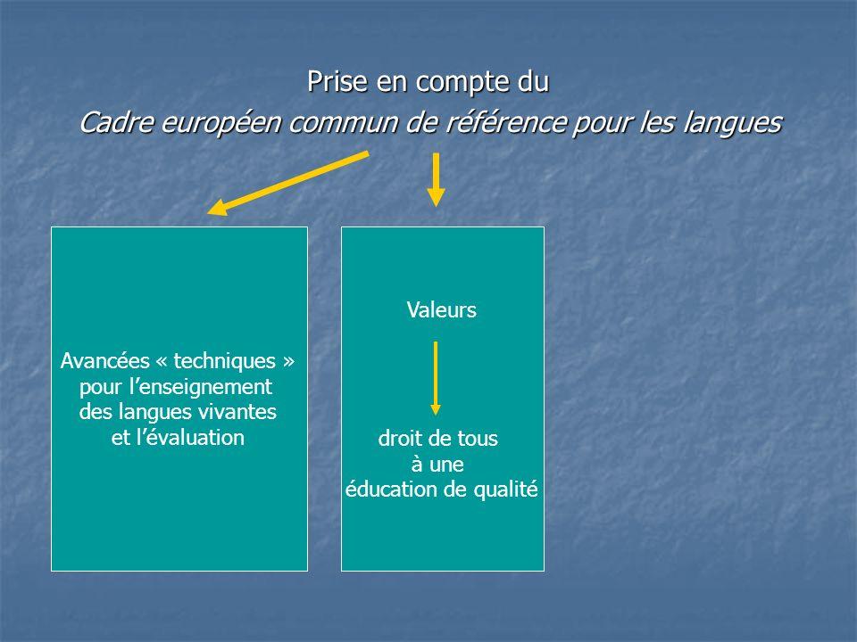Prise en compte du Cadre européen commun de référence pour les langues Avancées « techniques » pour lenseignement des langues vivantes et lévaluation Valeurs droit de tous à une éducation de qualité Rôle des langues de scolarisation dans la construction des connaissances réussite de chacun