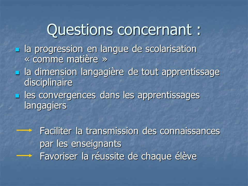 Questions concernant : la progression en langue de scolarisation « comme matière » la progression en langue de scolarisation « comme matière » la dime