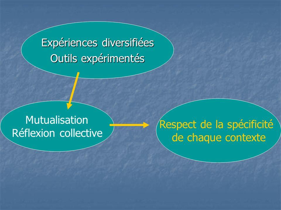 Expériences diversifiées Outils expérimentés Mutualisation Réflexion collective Respect de la spécificité de chaque contexte