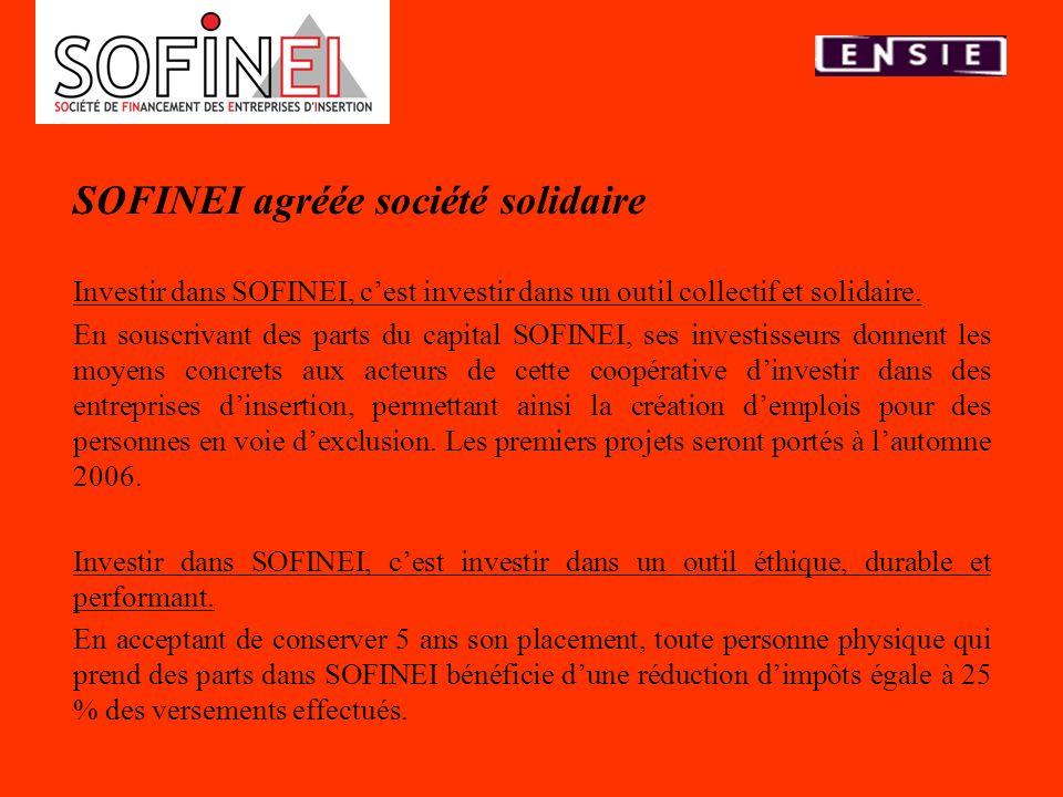 SOFINEI agréée société solidaire Investir dans SOFINEI, cest investir dans un outil collectif et solidaire. En souscrivant des parts du capital SOFINE
