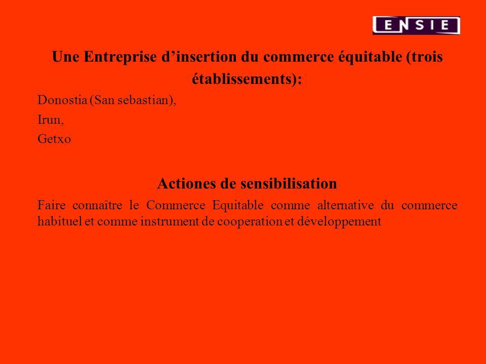 Une Entreprise dinsertion du commerce équitable (trois établissements): Donostia (San sebastian), Irun, Getxo Actiones de sensibilisation Faire connaî