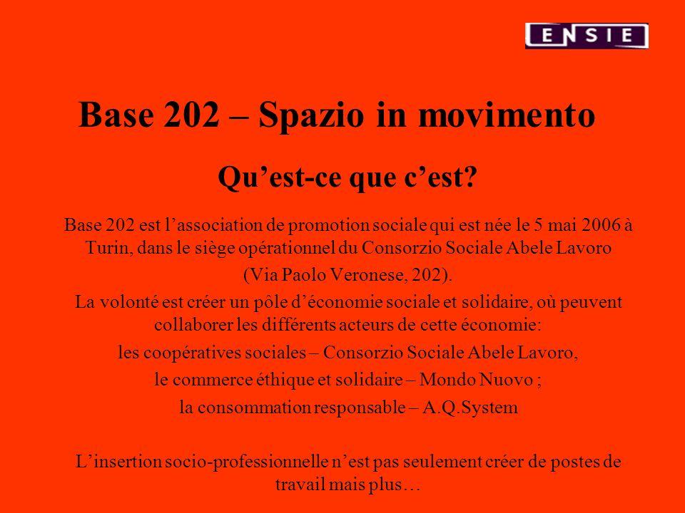 Base 202 – Spazio in movimento Quest-ce que cest? Base 202 est lassociation de promotion sociale qui est née le 5 mai 2006 à Turin, dans le siège opér